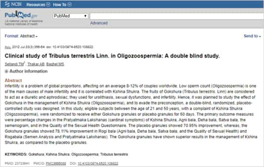 Abstract: Clinical study of Tribulus terrestris Linn. in Oligozoospermia: A double blind study
